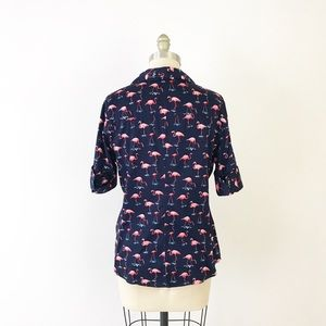 New York & Company Tops - Navy Flamingo Quirky Button Up Shirt Career L T843
